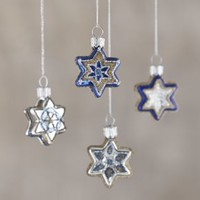 Glass Star Ornaments (Set of 4)
