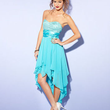 B Darlin Juniors Dress, Strapless Sequin High-Low - Dresses - Women - Macy's