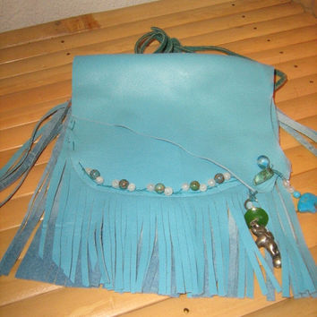 Sky Bear Hippie Fringed Leather IPhone Bag,Custom made with Moonstone,Turquoise,Agate, and 2 totem sky bears