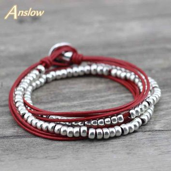 Anslow Promotion Discount Fashion Jewelry Buddha Silver Beads Wire Wrap Leather Bracelets For Women Men Dropship Gift LOW0584LB