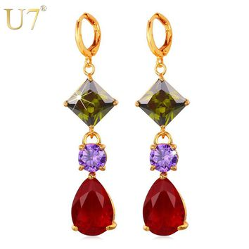 U7 Long Earrings Fashion Jewelry For Women Trendy Gold Color Colorful Cubic Zirconia Drop Earrings E683