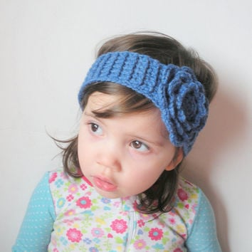 Crochet Toddler Girls Headband in Blue with Large Rose, ready to ship.