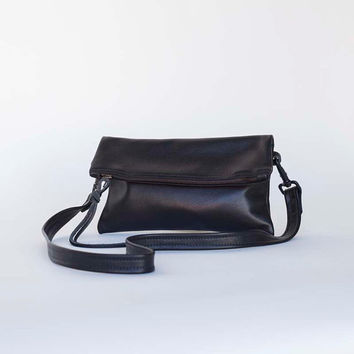 Supple Black Leather Fold over Clutch - Small black leather clutch - Black Leather cosmetics clutch