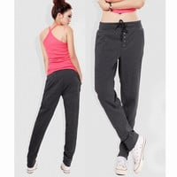 2014 Straight Sports Casual Hip-Hop Dark Grey Pants Women's Harem Pants Fleece Sweatpants M/L/XL/XXL WF-3751 = 1706363204