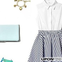 Vinosc Blue and white striped shirt collar sleeveless dress