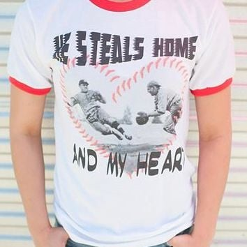 "Gina ""He Steals Home and My Heart"" Red Ringer Tee"