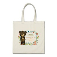 Teddy Bear with Decorative Flowers Baby Birth Tote Bag