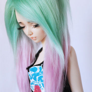 "BJD MSD Minifee  wig Sea Foam to Pink long in front fake fur wig MonstroDesigns 6""-7"" 7""-8"""