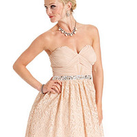 City Studios Juniors Dress, Strapless Lace Rhinestone A-Line - Juniors Dresses - Macy's