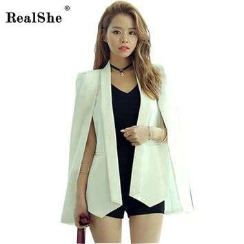 RealShe Women Blazers and Jackets Plain Cape Blazer Shawl Collar Office Ladies Fashion Tops Lapel Dual Pockets Fitted Blazer