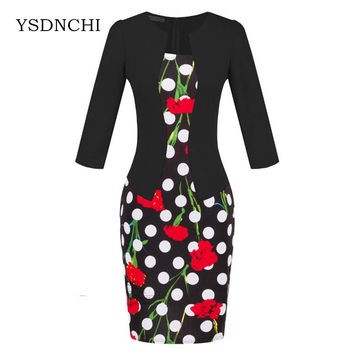 Brand Elegant Women Formal Bodycon Cotton Dress Girl Pencil Flower Dress For Female Office Sashes Woman Work Tartan Clothes S122