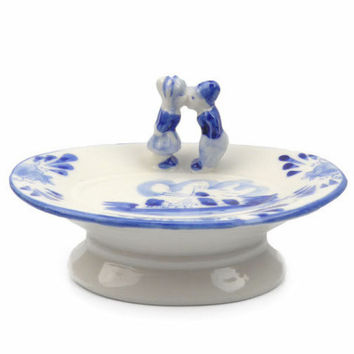 Ceramic Soap Dish Blue and White