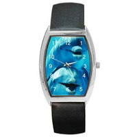 Dolphins (2) Laughing on a Barrel Watch with Leather Band