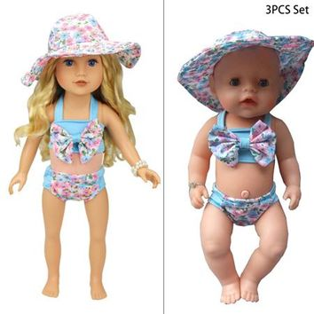 """Swimming Pool beach Lovely summer set For 18"""" American Girl Doll Bikini + Cap summer Swimming Suit With Hat also fit for 43cm Baby born dollsSwimming Pool beach KO_14_1"""