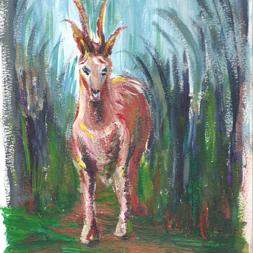 Antelope Painting Acrylic Painting Original Abstract Animal Painting Illustration Animal Wall Decor 12 x 9