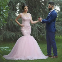 Sexy See Through Back Lace Mermaid Evening Dress Pink Prom Dresses 2017 Court Train Applique Tulle Formal Party Gown WH128