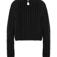 Les Copains Basketweave Black Sweater - Wool Sweater - ShopBAZAAR