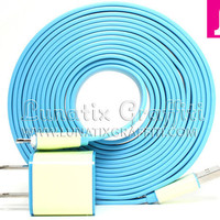iPhone 5 Charger XXL - 10 ft Long Flat Noodle iPhone 5 Charger (Blue)