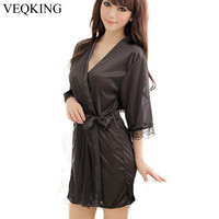 VEQKING Sexy Women Silk Satin Robe,Wedding Bride Bridesmaid Lingerie Set Sleepwear Nightgown Lace Bathrobe Pajamas