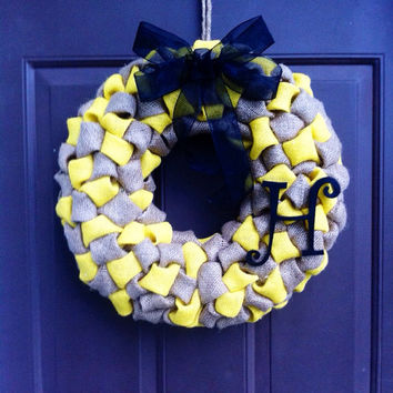 Burlap Wreath with Monogram for Door or Wall Bubble Style