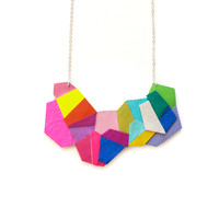Geometric Colorful Polygon Hexagon Rainbow Leather Necklace | Boo and Boo Factory - Handmade Leather Jewelry