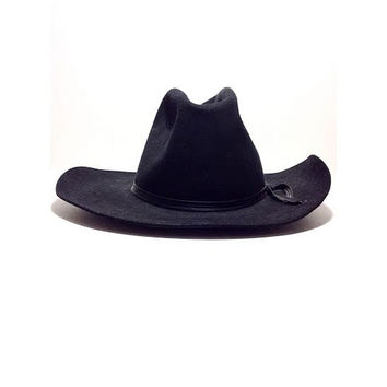 Cowboy Hat, One Hundred Percent Pure Beaver Fur, Black Hat, 100% Silk Lining, Country Rodeo, 1940s Felt Apparel Southern Mens Men