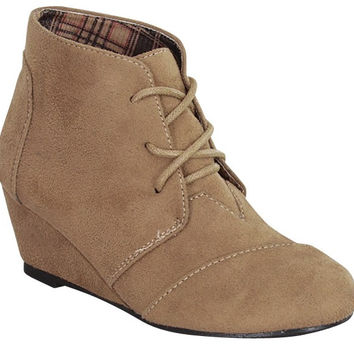 Montana Suede Low Wedge Lace Up Bootie