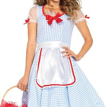 No Place Like Home Blue White Red Gingham Sheer Mesh Short Sleeve Bow Flare A Line Midi Dress Halloween Costume