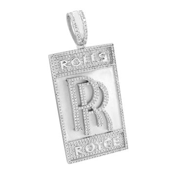 Mens Car Logo Pendant White Rhodium Plated Custom Simulated Diamonds Brand New