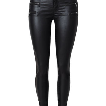 Black Low Waist Zipper Detail PU Pants