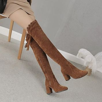 Solid Color Suede Pointed Toe Middle Chunky Heel Over-knee Boots with Plus Size
