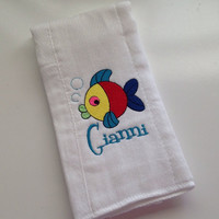Baby Burp Cloth Embroidered with Fish and Baby's Name Personalized Spit Up Cloth Custom Burp Cloth