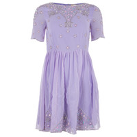 Frock And Frill Lilac Womens Embellished Skater Dress