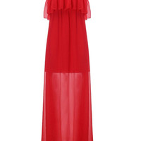 Women Off Shoulder Pure Color Long Maxi Chiffon Dress Evening Party Dress