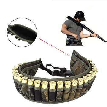 Military 28 Round Tactical Shotgun Shell Buckle Belt Holder Waist 12GA Ammo Pouch Camo Bullet Strap with Inner Zipper Pocket