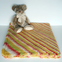 Knit Baby Blanket in Diagonal Stripes, citrus colors