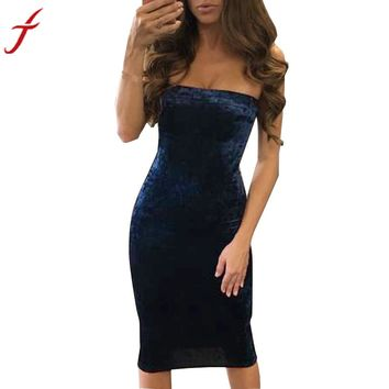 Velvet Strapless Elegant Sleeveless Dress For Club Party Wear