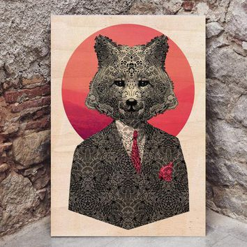 Fox Wood Print, Cool Animal Print On Wood, Ready To Hang Wooden Home Decor