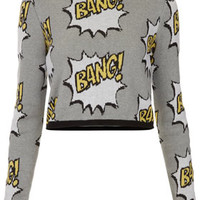 Knitted BANG Motif Crop Jumper - Knitwear  - Clothing