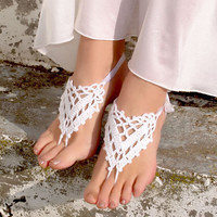 Handmade Hollow Out Anklet Bracelet Crochet Barefoot Sandals Gift-07