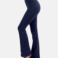Navy Fold-Over Yoga Pants - Women