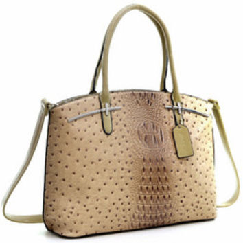 Dasein(R) Ostrich Faux Leather with Patent Leather Trim Satchel