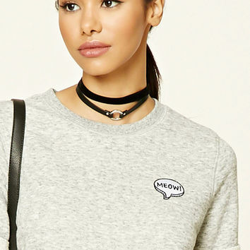 Embroidered Meow Sweater Top