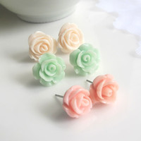 Pink, Mint Green, Cream Peach Roses. Bridal Wedding Floral Light Pastel Earring Stud. Surgical Stainless Steel Ear Accessories Everyday Wear