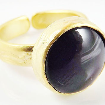 Round Black Onyx Stone Adjustable Cocktail Statement Ring - 22k Matte Gold Plated - 1PC