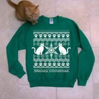 Meowy Christmas - Ugly Christmas Sweater, funny sweatshirt, holiday sweater gift, cats, adopt, Cat shirt, animal rescue