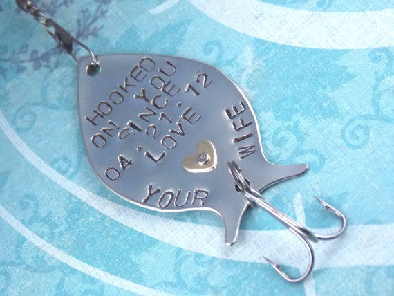 Personalized fishing lure hooked on you from for Unique fishing gifts