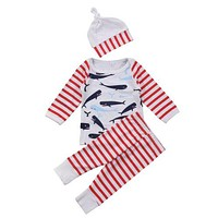 3PCS Set Newborn Baby Girl Boy Clothing Tops T-Shirts Long Sleeve Pants Hat Cute Outfits Clothes Baby 0-24M