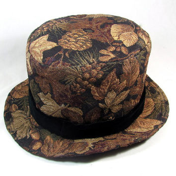 Mens Top Hat With Checkerboard Pattern Tapestry Fabic in Gold and Orange and Velvet Band