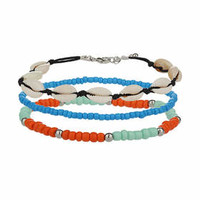 Shell and Bead Anklet Pack - Blue